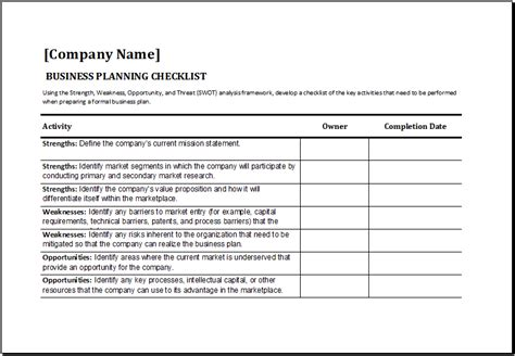 Ms Excel Business Planning Checklist Template Excel Templates Business Check Template Excel