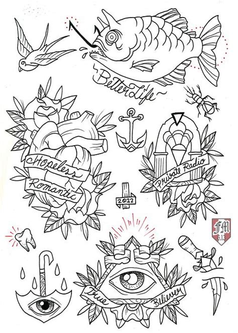 tattoo flash line art old school gypsy coloring pages
