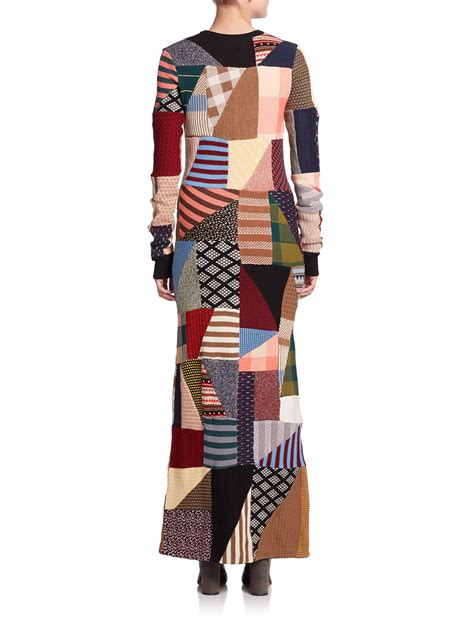 Patchwork Dress - chlo 233 patchwork sweater dress lyst