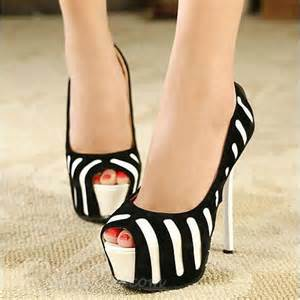 black white stripes high heels shoes picture