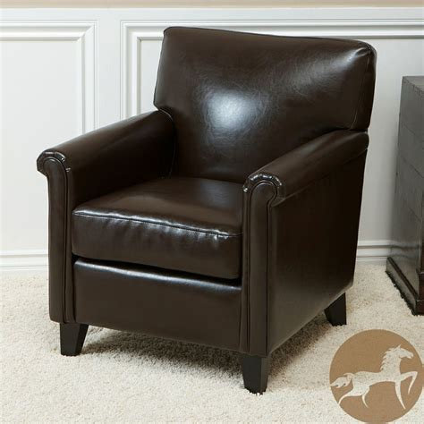 Overstock Leather Chair by Christopher Home Leeds Classic Brown Bonded Leather