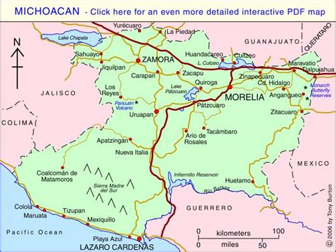 map of michoacan mexico state maps map of michoacan mexico state maps travel maps and major
