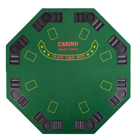 green octagon 48 quot 8 player four fold folding poker table