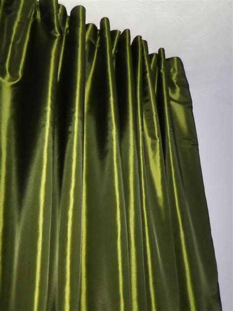 Olive Green Curtains Drapes Blackout Taffeta Silk Curtain Olive Green Taffeta Silk Blackout Curtains