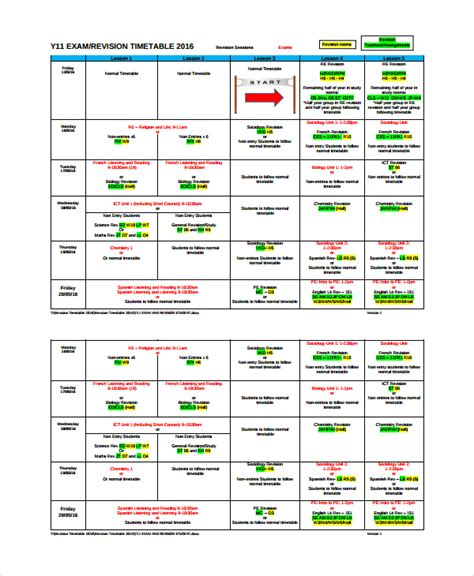 sle revision timetable template 9 free documents