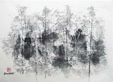 White Andong Top trees by hiroshi yamamoto east asian painting sumi e