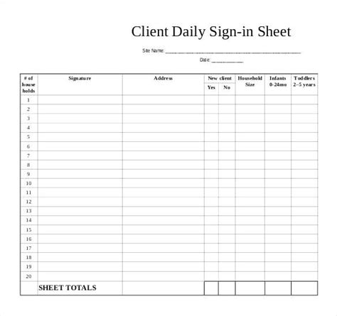 childcare sign in sheet template student sign in sheet daycare sign in sheet template