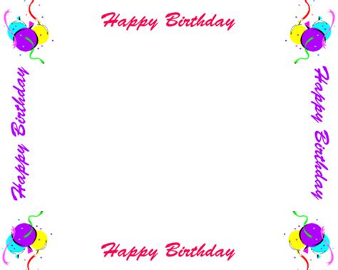 birthday card border templates free birthday borders for invitations and other birthday
