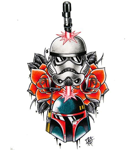 star wars tattoo design stormtrooper boba fett sw