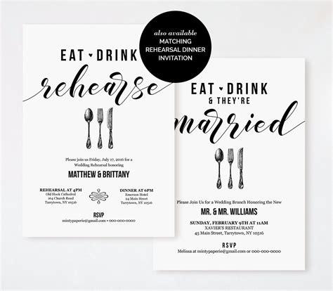 Post Wedding Brunch Invitation Template Printable Brunch Invite Eat Drink Married Instant Wedding Brunch Invitation Templates