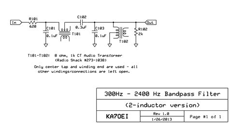 band pass filter without inductor ka7oei s an l c audio bandpass filter using cheap audio transformers