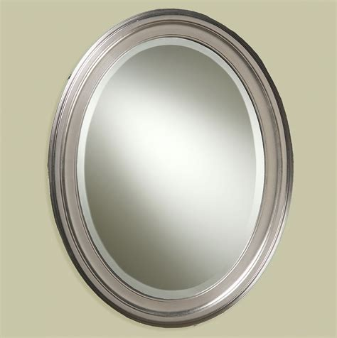 brushed nickel mirror for bathroom oval bathroom mirrors brushed nickel home design ideas