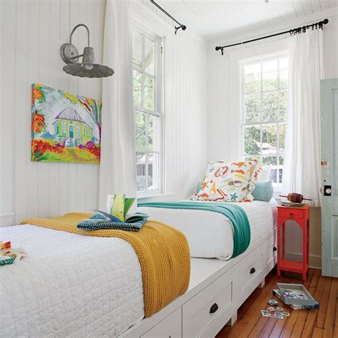 beach style bedroom with reading corner cottage bedroom best 25 twin beds ideas on pinterest twin bedroom ideas