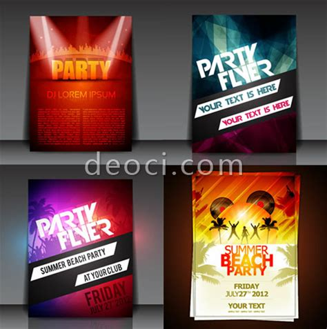 design poster free download 4 vector fashion summer party music neon silhouette