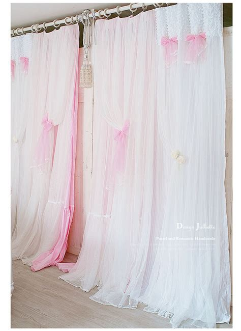 aliexpress com buy princess white pink curtain lace dj korean postoral princess pink bow cotton yarn lace