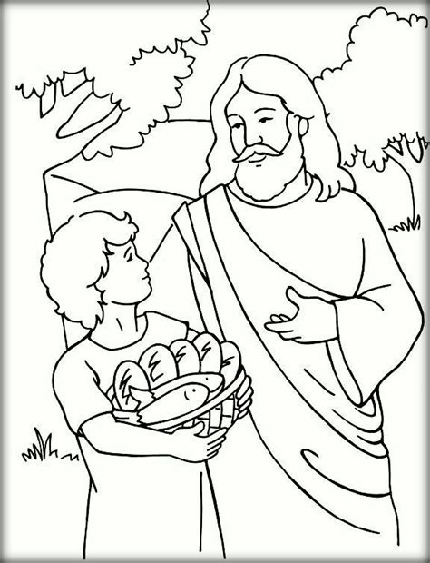 Coloring Page Jesus Feeds 5000 by Jesus Feeds 5000 Coloring Pages For Color Zini