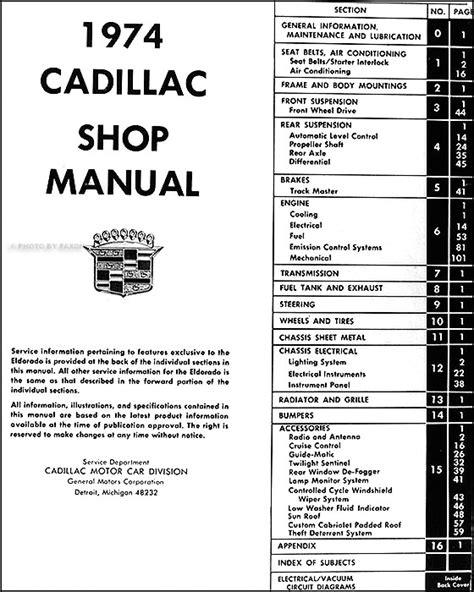 1974 Cadillac Repair Shop Manual Original