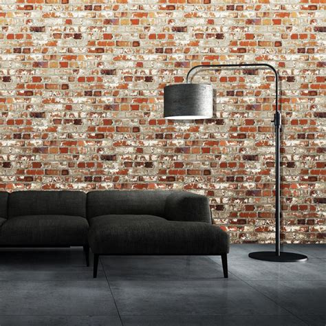 realistic wall murals new brick effect faux realistic brick wall pattern photo mural wallpaper ebay