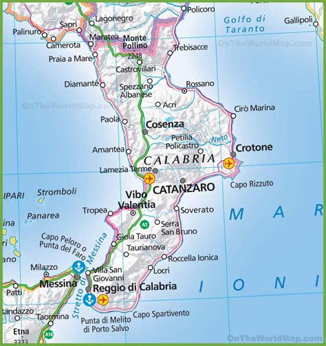 in calabria large map of calabria