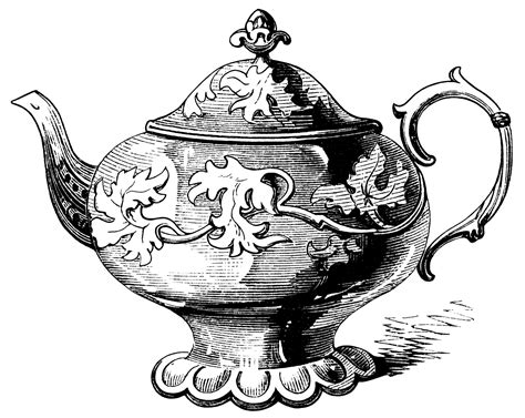 vintage antique blue white ornate teapot high tea tea pot illustration vintage teapot clipart