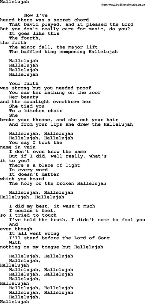 full version of hallelujah leonard cohen hallelujah lyrics and sheet music for allison crowes piano