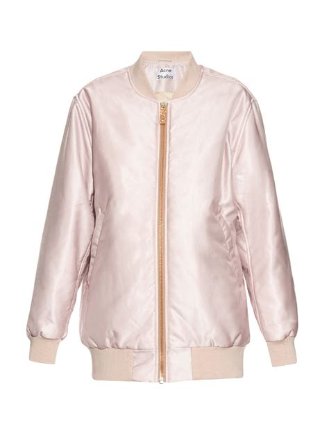 light pink bomber jacket lyst acne studios selow satin bomber jacket in pink