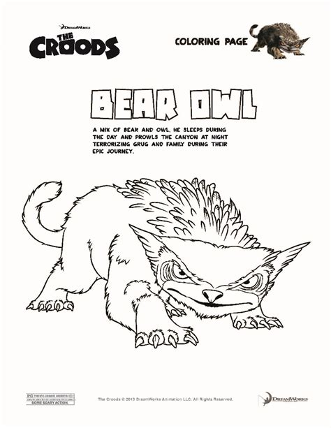 The Croods Coloring Pages Bear Owl The Croods Coloring Pages Hellokids Com by The Croods Coloring Pages