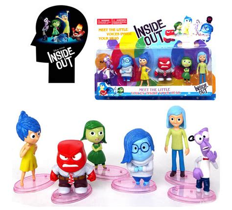 Inside Out Figurines With Base 6 Pcs Set inside out pvc figures toys new 8 10cm 6pcs set with base five emotions