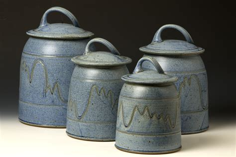 pottery canisters kitchen quail run pottery canister set western kitchen pinterest