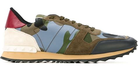 camouflage shoes shopstyle uk valentino rockrunner paneled camouflage low top sneakers