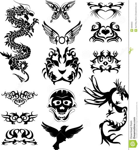 tribal tatto with dragons stock photos image 6899953
