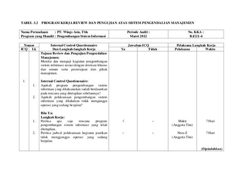 format laporan audit internal program audit manajemen jiantari c 301 09 013