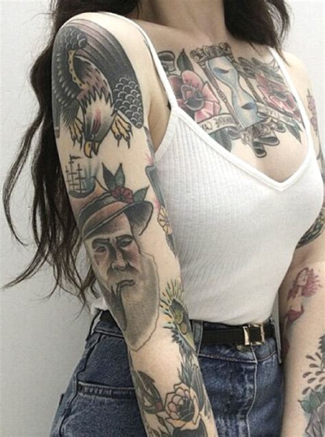 tattoo pen arm pinup colorful full arm sleeve tattoo ideas for women