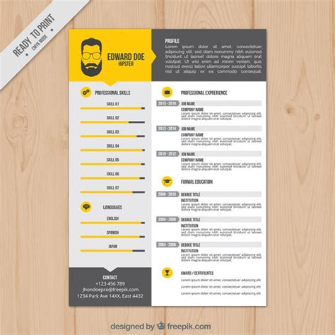 Resume Templates Vector Yellow Resume Template Vector Free