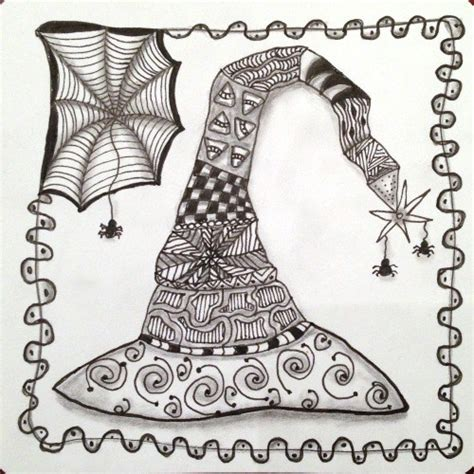 doodle witches hat puzzle tangled witch s hat zentangle inspired witch s hat