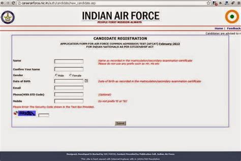 candidate section afcat how to fill up and apply for iaf afcat application through