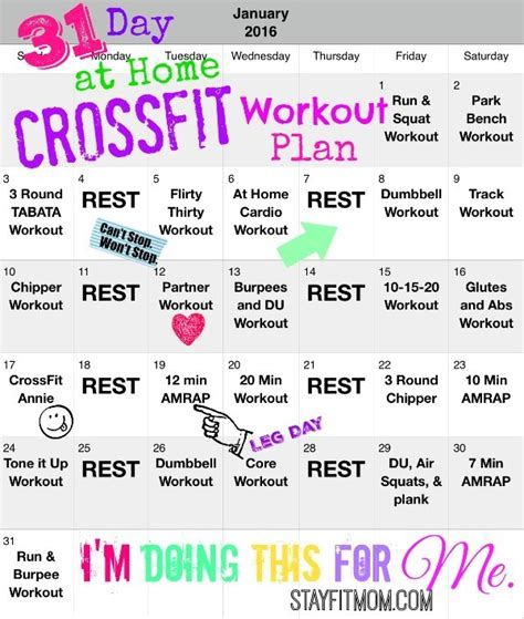 31 day at home crossfit workout plan stay fit
