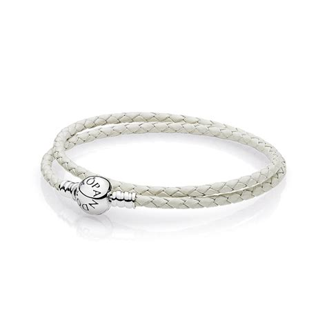 Woven Leather Bracelet With Charms White Pandora 590745ciw Ivory White Braided Leather