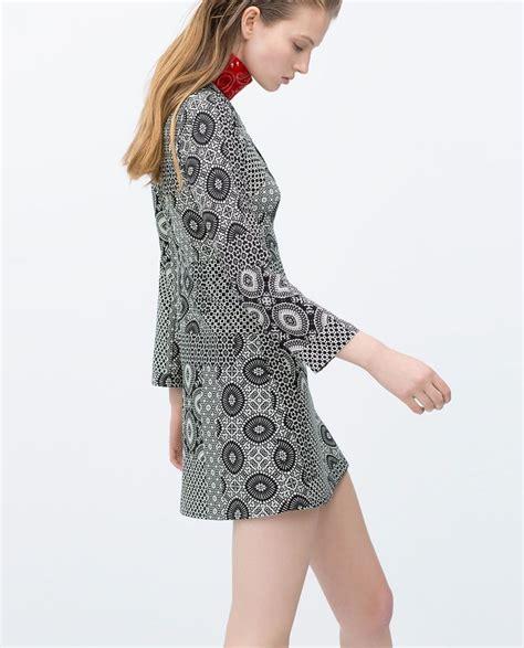 Dress Zara Tile zara femme robe 192 imprim 201 patchwork look gris