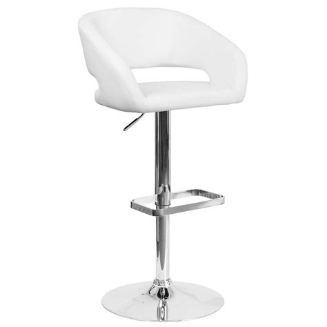 Flash Furniture Adjustable Bar Stool by Flash Furniture Adjustable Height White Cushioned Bar