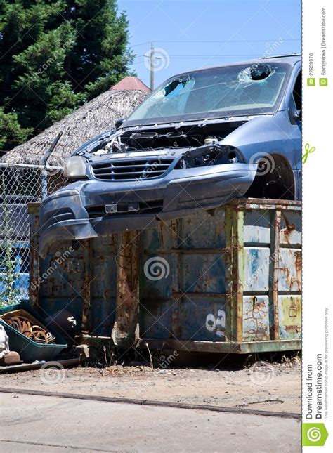 Car Dumpster by Car In Dumpster Stock Photo Image 22809970