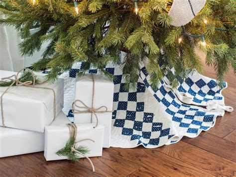 turn an old quilt into a christmas tree skirt hgtv