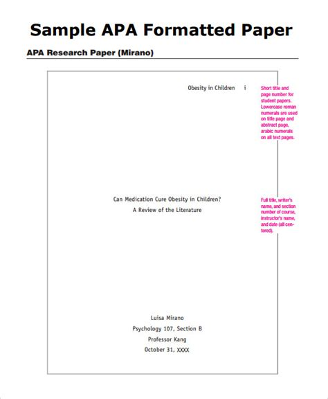 Apa Report Format Template sle apa outline template 8 free documents in pdf