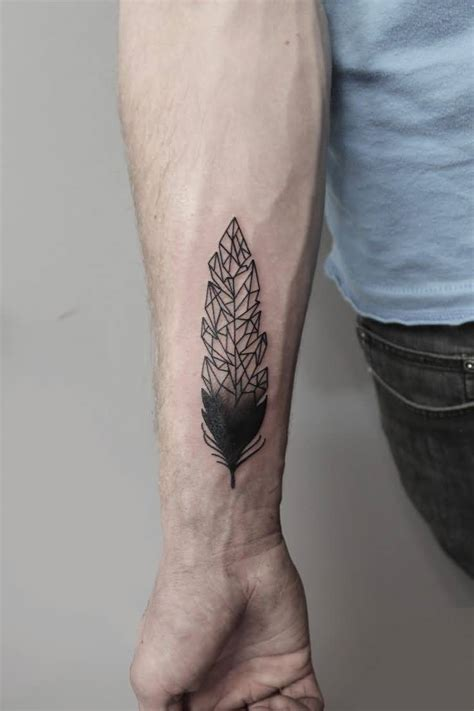 geometric wrist tattoo 20 awesome feather designs for golfian