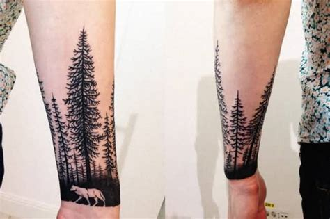 walking wild wolf and forest tree tattoo idea for arm