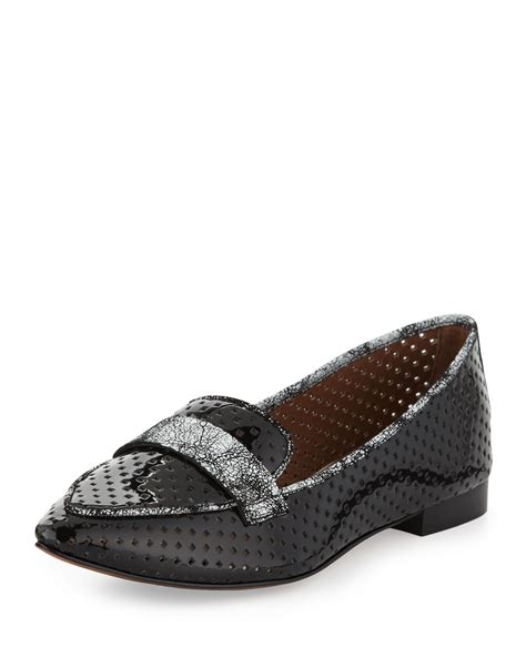 donald pliner loafers donald j pliner perforated patent loafer in black lyst