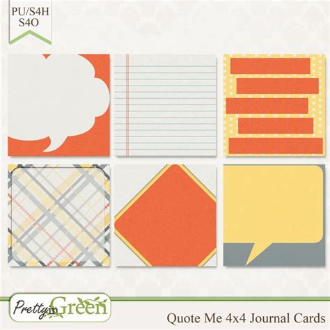 4x4 Card Template by Free Quote Me 4x4 Journal Cards From Pretty In Green On