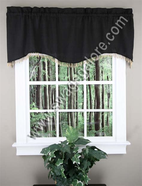 Black Kitchen Curtains And Valances Coronado Scalloped Valance Black Lorraine Kitchen Valances