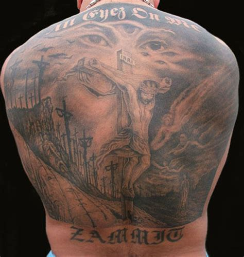 religious back tattoos large crucifix on back