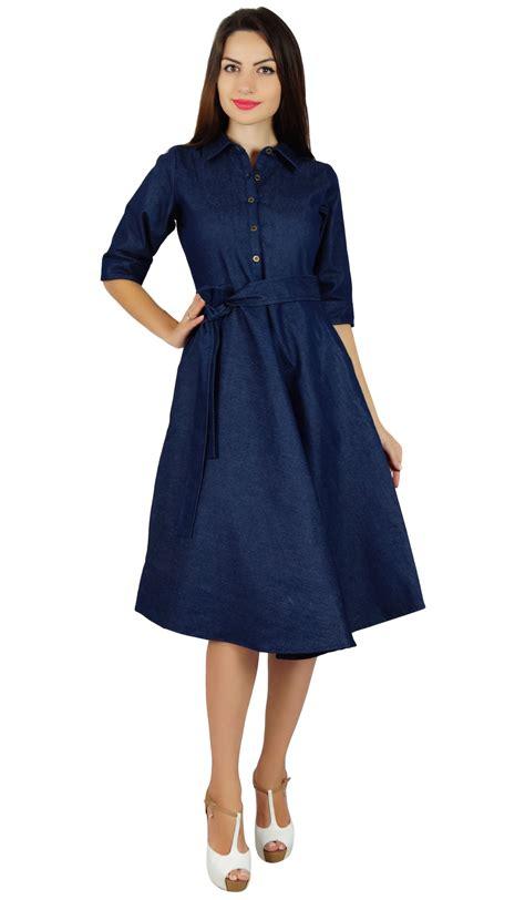 3 4 Sleeve Denim Shirt bimba womens blue denim shirt dress with pockets 3 4